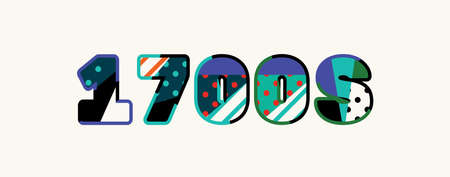 The word 1700s concept written in colorful abstract typography. 일러스트
