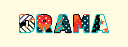 The word DRAMA concept written in colorful abstract typography.