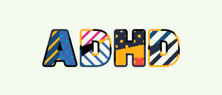 The word ADHD concept written in colorful abstract typography.