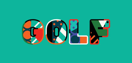 The word GOLF concept written in colorful abstract typography. Illusztráció