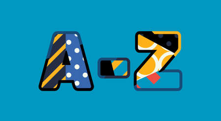 The word A-Z concept written in colorful abstract typography. Illustration