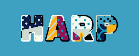 The word HARP concept written in colorful abstract typography.