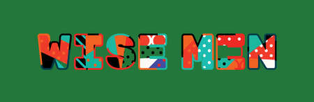 The words WISE MEN concept written in colorful abstract typography.