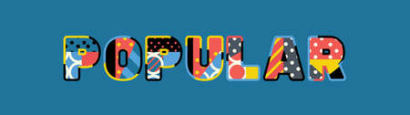 The word POPULAR concept written in colorful abstract typography. 向量圖像
