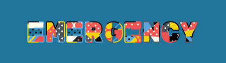 The word EMERGENCY concept written in colorful abstract typography. Illustration