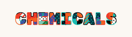 The word CHEMICALS concept written in colorful abstract typography.