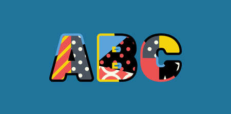 The letters ABC concept written in colorful abstract typography.