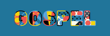 The word GOSPEL concept written in colorful abstract typography.
