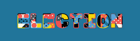 The word ELECTION concept written in colorful abstract typography.