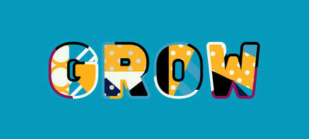 The word GROW concept written in colorful abstract typography.