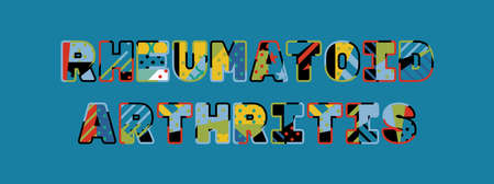The words RHEUMATOID ARTHRITIS concept written in colorful abstract typography. Illustration