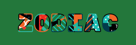 The word ZODIAC concept written in colorful abstract typography.
