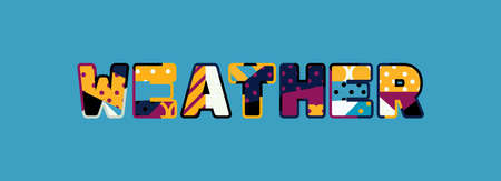 The word WEATHER concept written in colorful abstract typography.