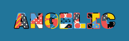 The word ANGELIC concept written in colorful abstract typography.