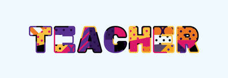 The word TEACHER concept written in colorful abstract typography.