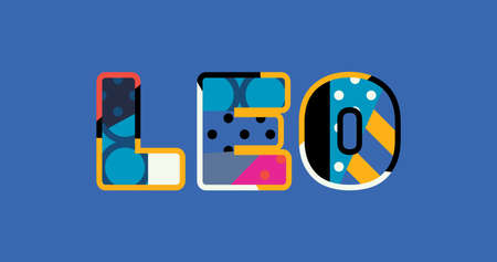 The word LEO concept written in colorful abstract typography. Vector EPS 10 available. Illustration