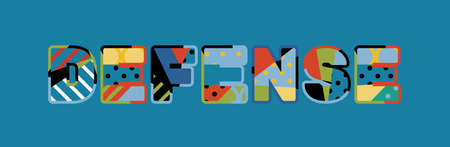 The word DEFENSE concept written in colorful abstract typography. Ilustrace