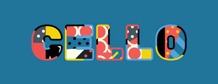 The word CELLO concept written in colorful abstract typography.