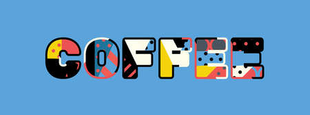 The word COFFEE concept written in colorful abstract typography.