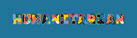 The word HUMANITARIAN concept written in colorful abstract typography. Ilustração