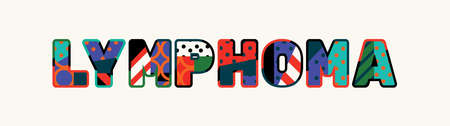 The word LYMPHOMA concept written in colorful abstract typography. Ilustracja
