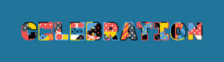 The word CELEBRATION concept written in colorful abstract typography.