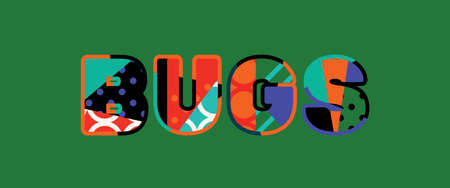 The word BUGS concept written in colorful abstract typography. Illustration