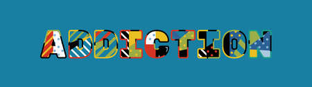 The word ADDICTION concept written in colorful abstract typography.