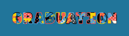 The word GRADUATION concept written in colorful abstract typography.