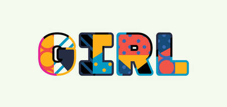The word GIRL concept written in colorful abstract typography.