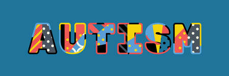 The word AUTISM concept written in colorful abstract typography.