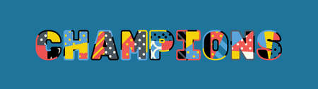 The word CHAMPIONS concept written in colorful abstract typography. 일러스트