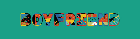The word BOYFRIEND concept written in colorful abstract typography.