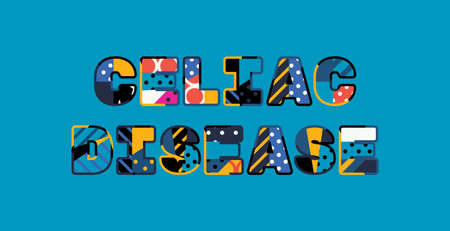The words CELIAC DISEASE concept written in colorful abstract typography. Illustration