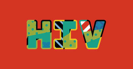 The letters HIV concept written in colorful abstract typography.