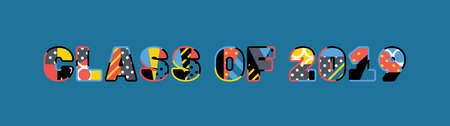 The words CLASS OF 2019 concept written in colorful abstract typography. Illusztráció