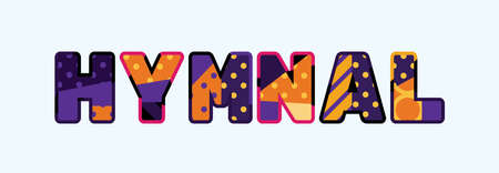 The word HYMNAL concept written in colorful abstract typography.