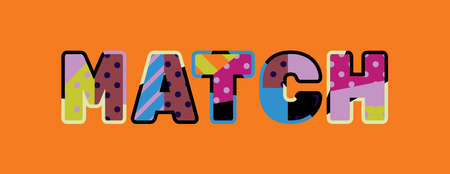 The word MATCH concept written in colorful abstract typography.
