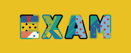 The word EXAM concept written in colorful abstract typography.