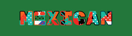 The word MEXICAN concept written in colorful abstract typography.