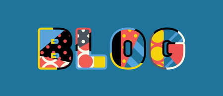 The word BLOG concept written in colorful abstract typography. Ilustrace