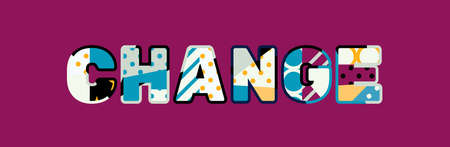 The word CHANGE concept written in colorful abstract typography. Vettoriali