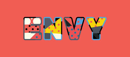 The word ENVY concept written in colorful abstract typography.