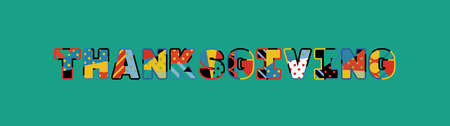 The word THANKSGIVING concept written in colorful abstract typography.