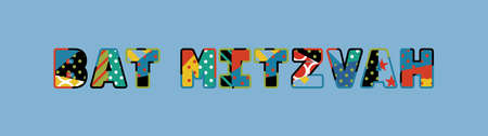 The words BAT MITZVAH concept written in colorful abstract typography. Illustration