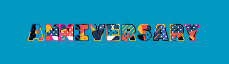 The word ANNIVERSARY concept written in colorful abstract typography.