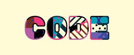 The word CODE concept written in colorful abstract typography. Çizim