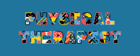 The words PHYSICAL THERAPIST concept written in colorful abstract typography.