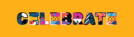 The word CELEBRATE concept written in colorful abstract typography.