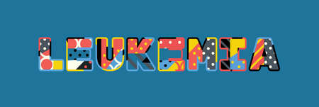 The word LEUKEMIA concept written in colorful abstract typography. Ilustração